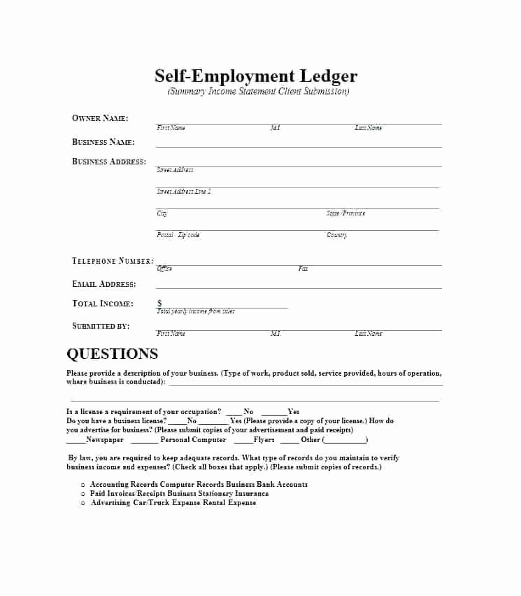 Self Employment Income Statement Template Awesome Profit and Loss Statement for Self Employed Template Free