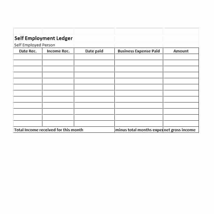 Self Employment Income Statement Template Luxury Expense Ledger Template – Template Gbooks