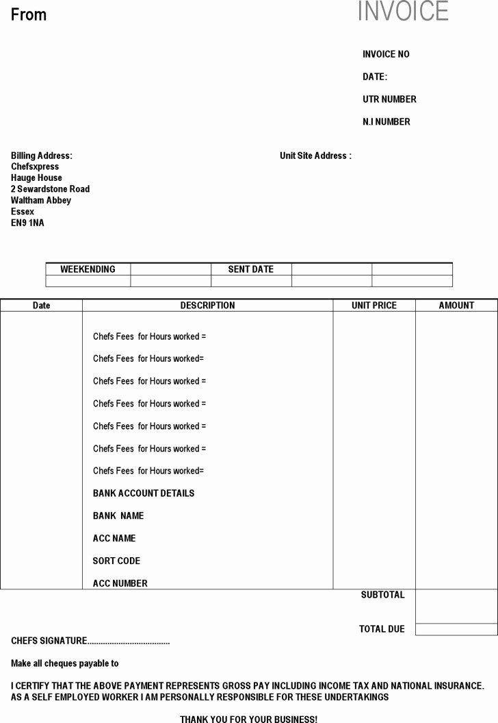 Self Employment Invoice Template Fresh Download Self Employed Invoice Templates for Free