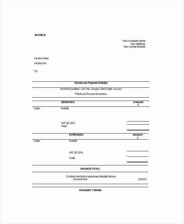 Self Employment Invoice Template Fresh Self Employed Invoice Template 11 Free Word Excel Pdf