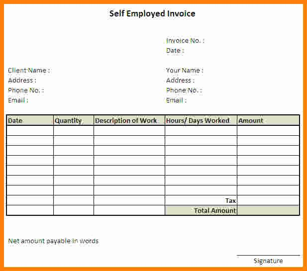 Self Employment Invoice Template Inspirational Free Printable Application for Employment Template