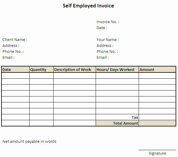 Self Employment Invoice Template Inspirational Self Employed Invoice Template Excel