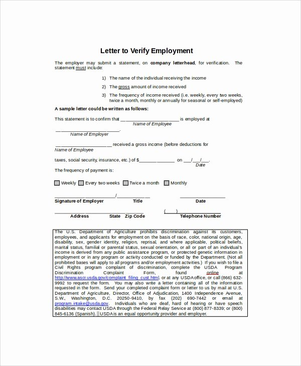 Self Employment Letter Template Awesome 8 Employment Verification Letter Templates