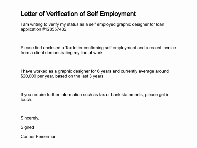 Self Employment Letter Template Beautiful Letter Of Verification