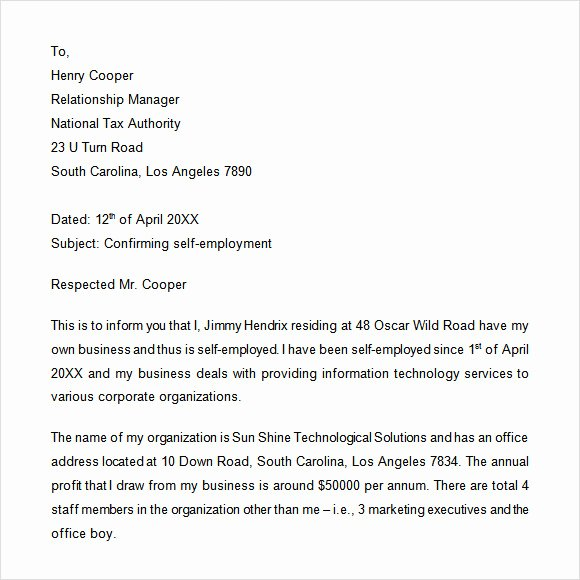 Self Employment Letter Template Best Of 10 Sample Proof Of Employment Letters for Free Download