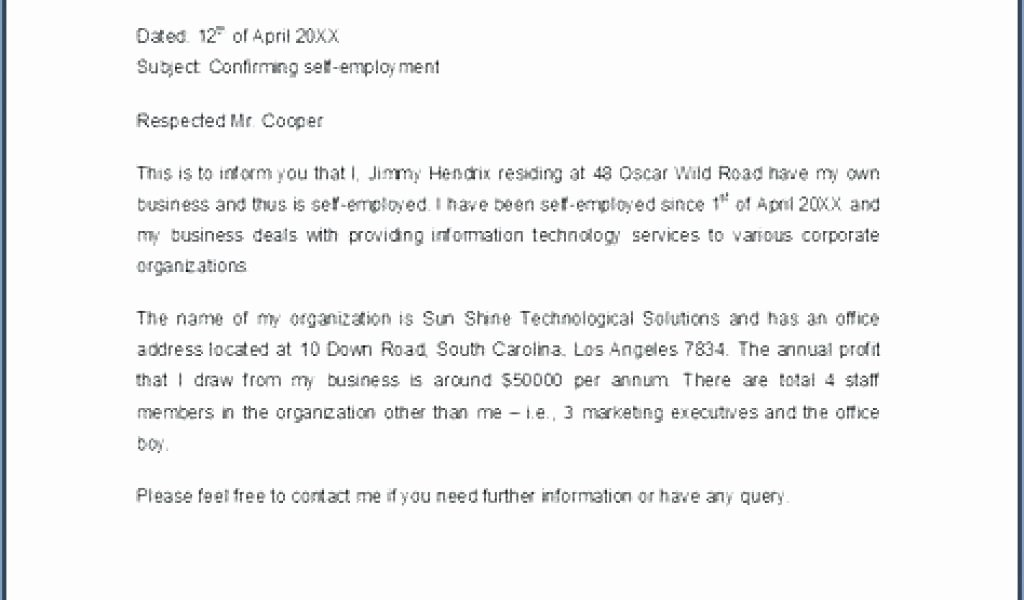 Self Employment Letter Template Best Of Proof Unemployment Letter Template Free Self Employment