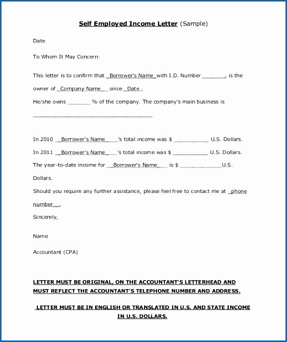 Self Employment Letter Template Elegant 10 Accountants Letter for Self Employed