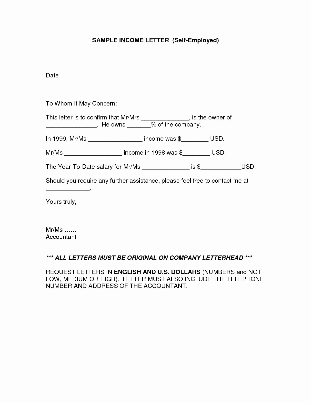 Self Employment Letter Template Elegant Cpa Letter for Self Employed Template Download