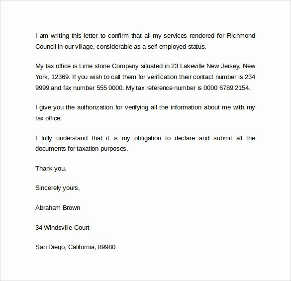 Self Employment Letter Template Luxury Sample Letter Of Employment 9 Download Free Documents