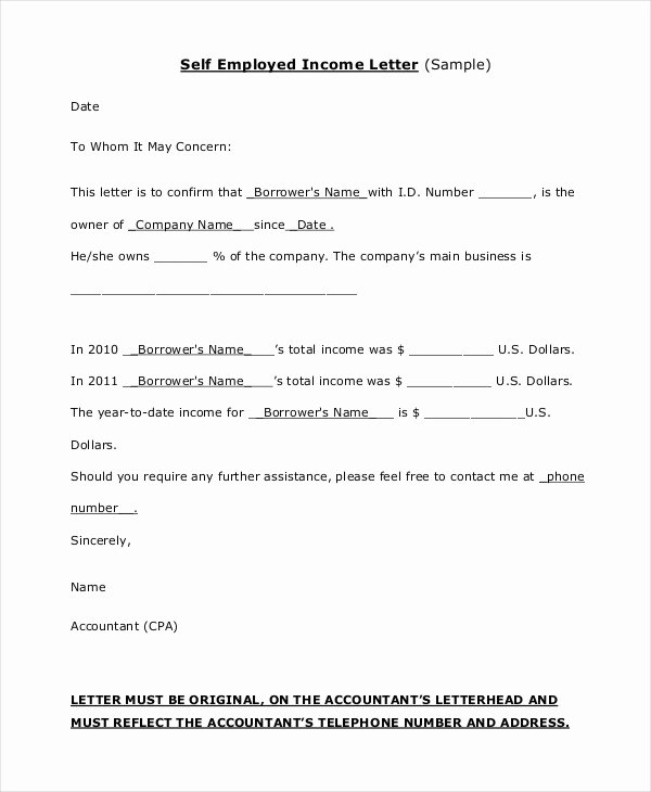 Self Employment Letter Template New 16 Proof Of In E Letters Pdf Doc