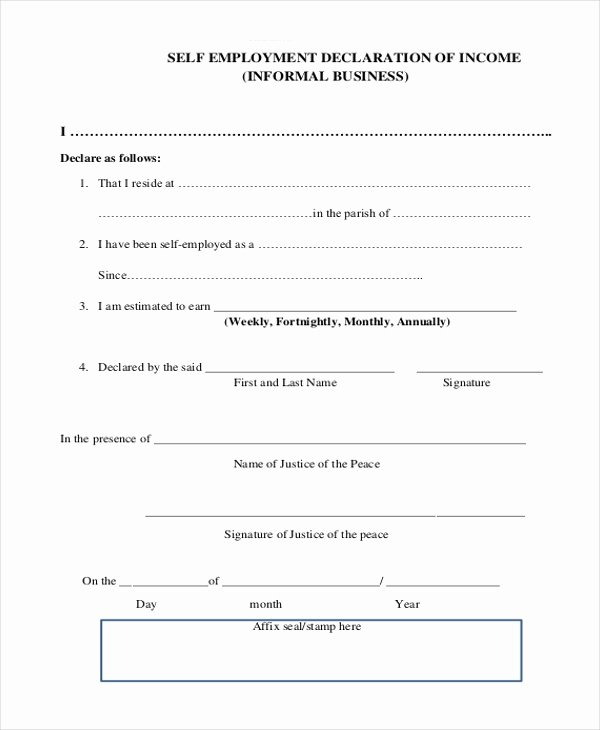Self Employment Letter Template Unique Sample Self Employment form 9 Free Documents In Pdf