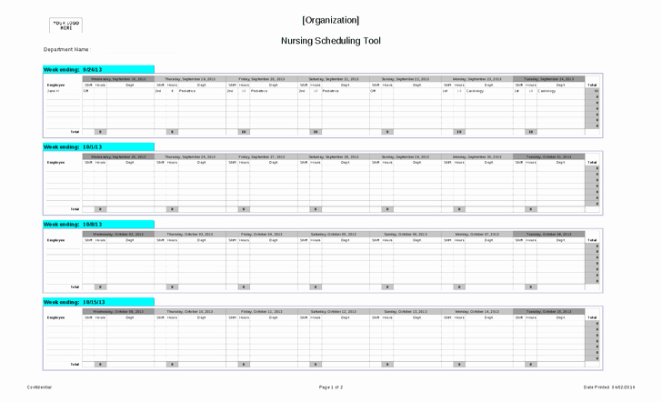 Self Scheduling for Nurses Template Fresh Nursing Schedule Template