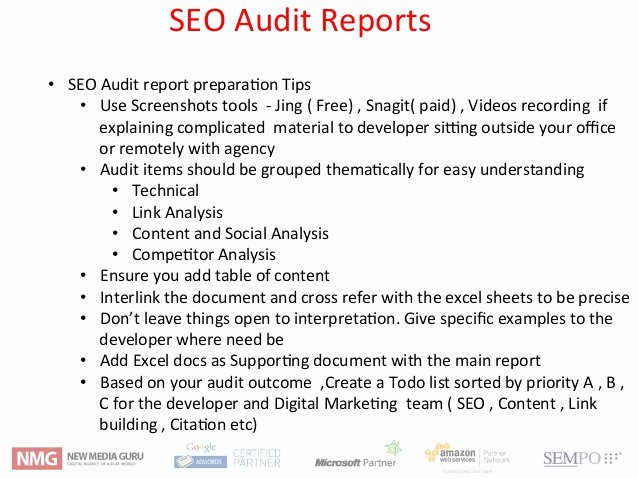 Seo Audit Report Template Beautiful Seo Audit Workshop Framework Techniques and tools