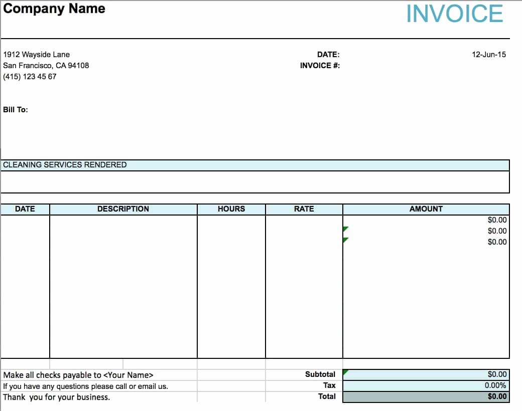 Service Invoice Template Free Elegant Free House Cleaning Service Invoice Template Excel