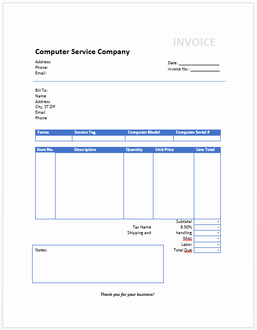 Service Invoice Template Free Fresh Puter Invoice Template