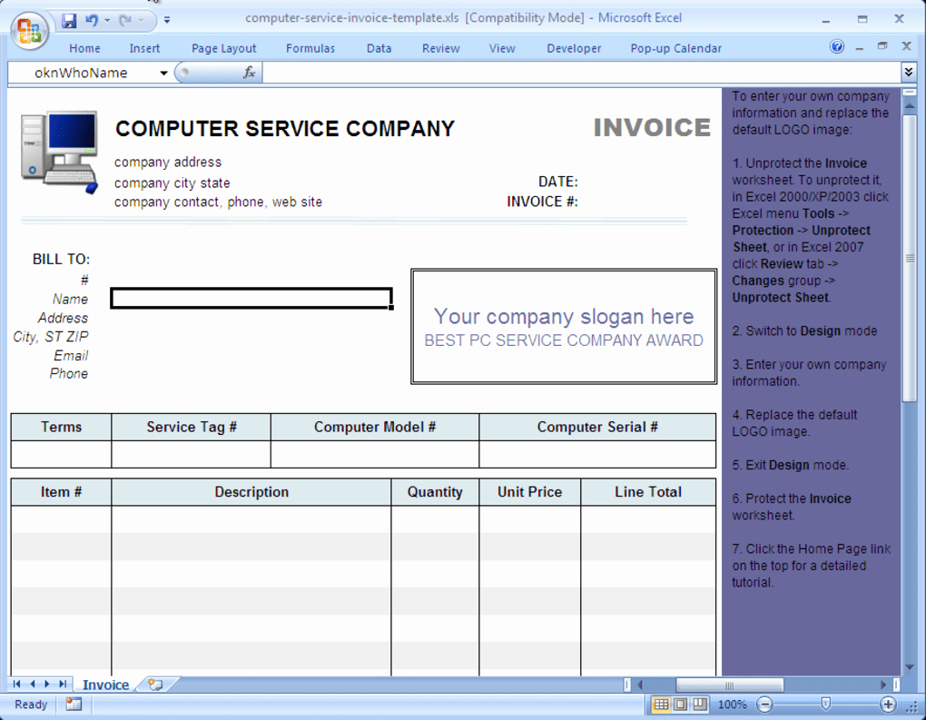 Service Invoice Template Free Inspirational Puter Service Invoice Template Download