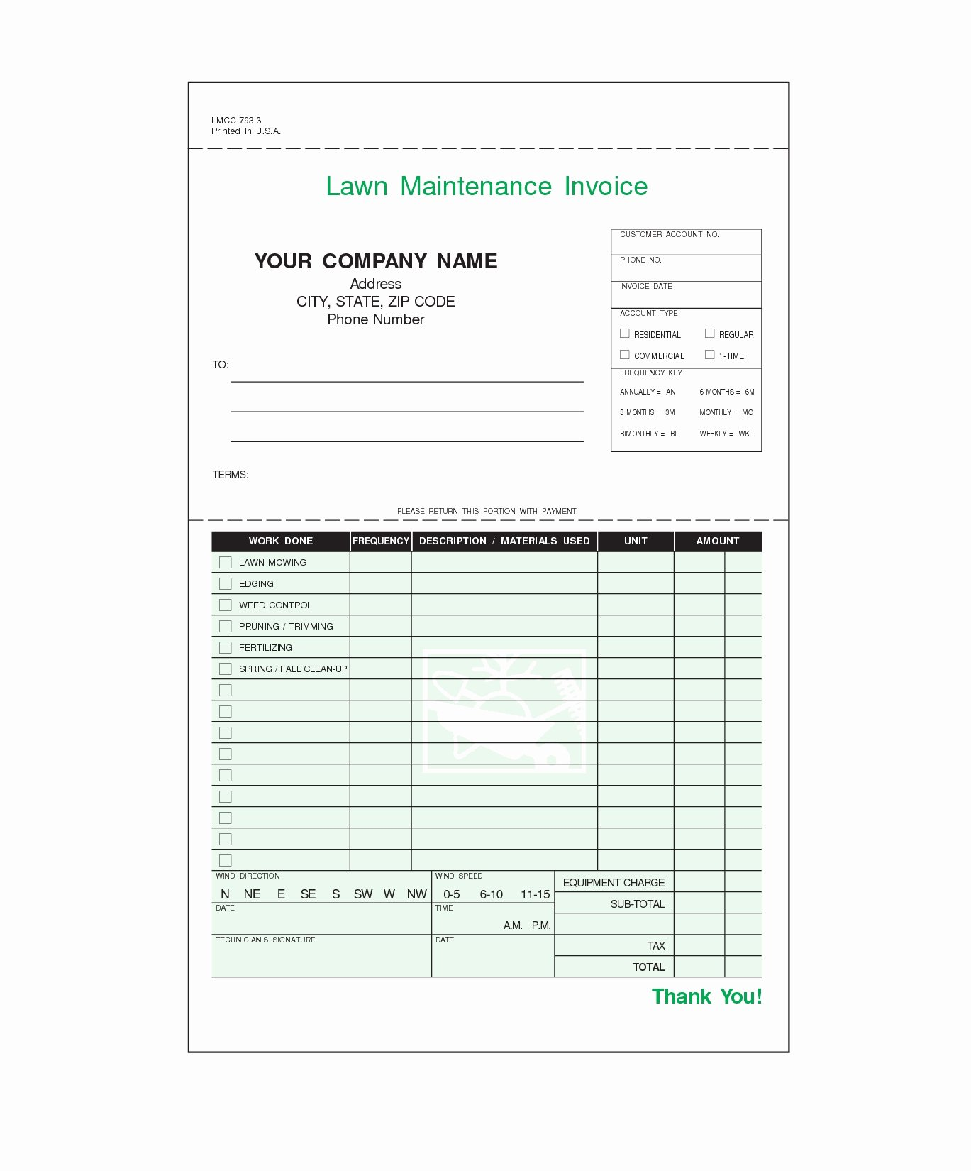 Service Invoice Template Free Lovely Lawn Service Invoice Template Invoice Template Ideas