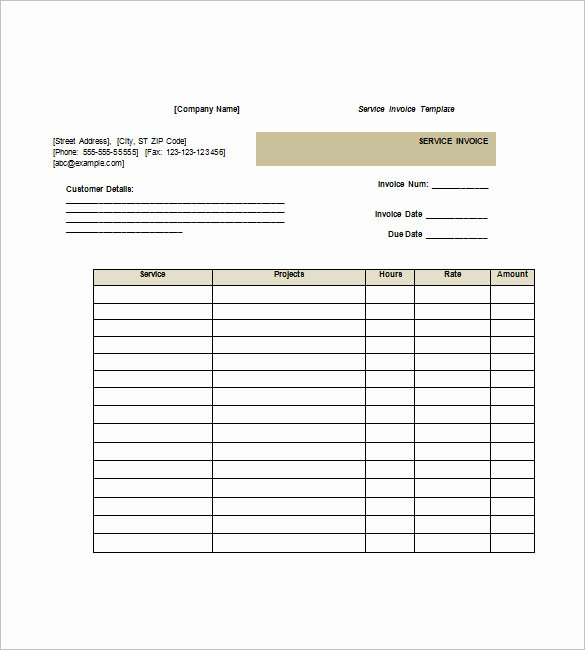 Service Invoice Template Free New Service Invoice Templates – 11 Free Word Excel Pdf