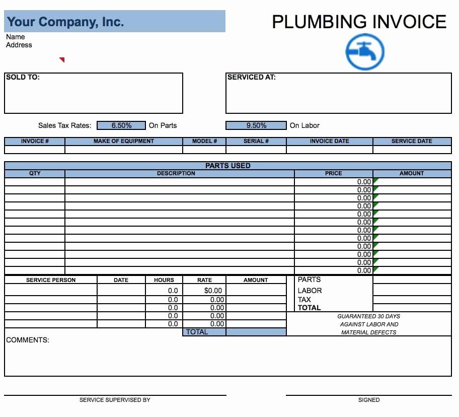 Service Invoice Template Free Unique Plumbing Service Invoices Rusinfobiz