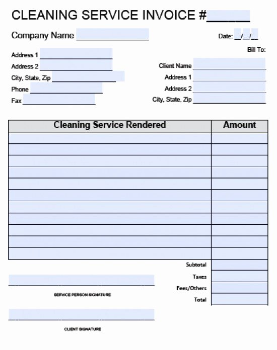 Service Invoice Template Pdf Best Of Cleaning Invoice Template Word