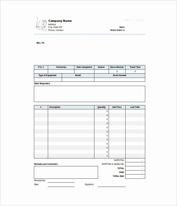 Service Work order Template Luxury Free Printable Work order Template