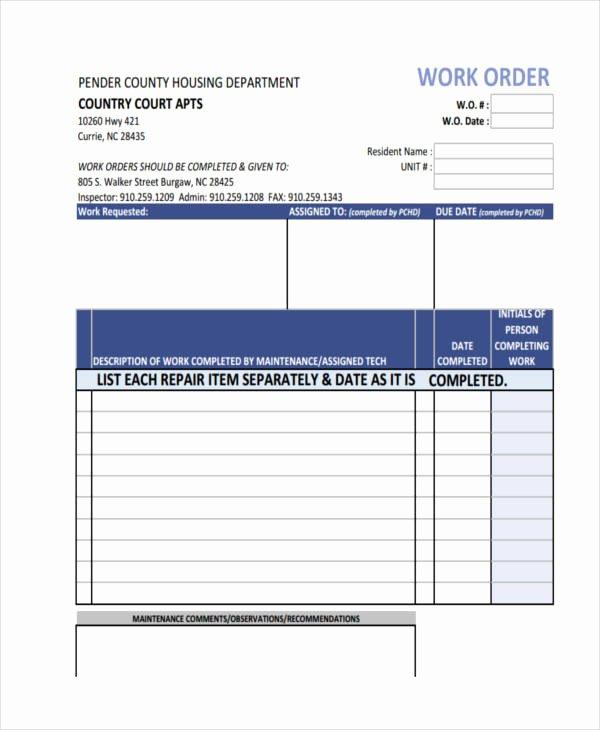 Service Work order Template Unique 17 Work order formats