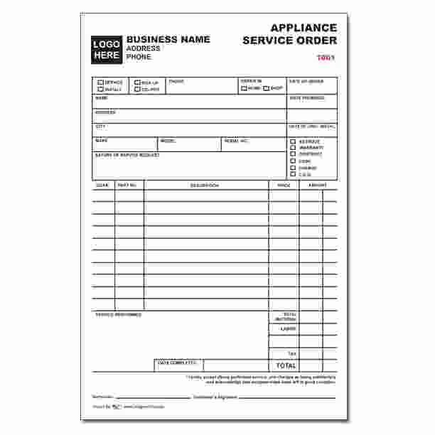 Service Work orders Template Best Of Appliance Service order form