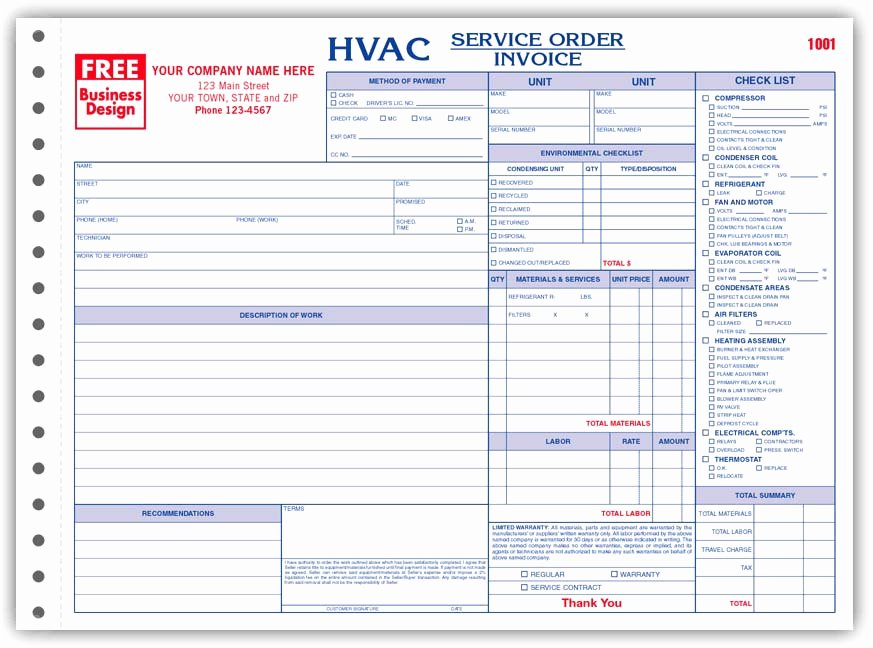 Service Work orders Template Inspirational Hvac Service order Invoice Template