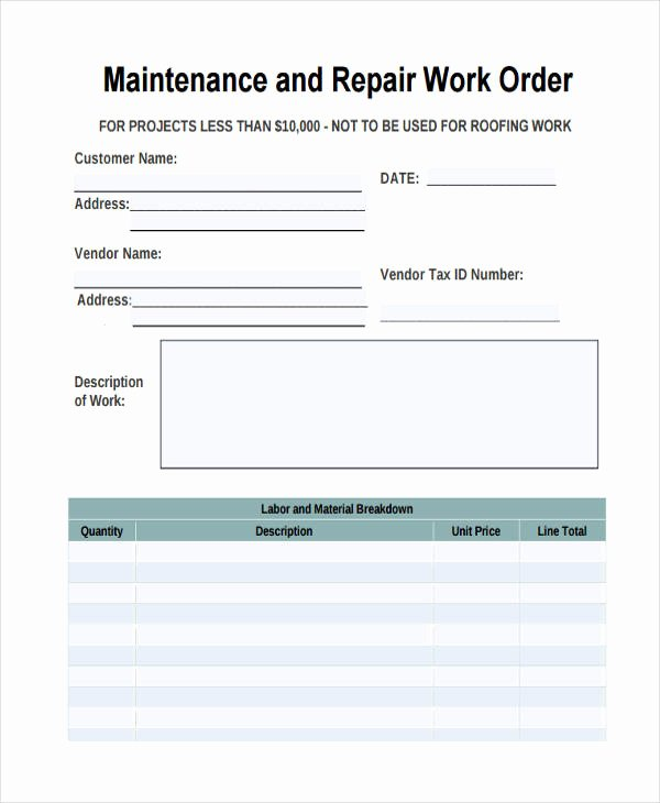 Service Work orders Template Lovely 28 Work order Templates Ai Psd