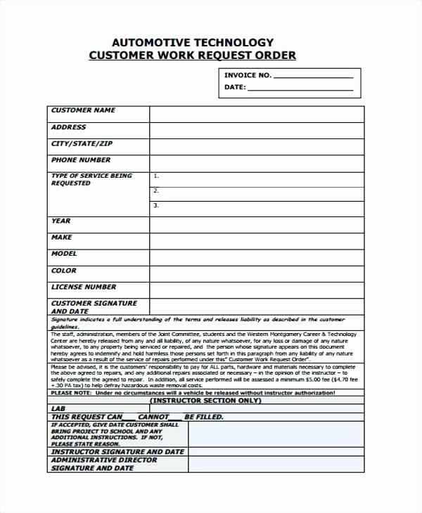 Service Work orders Template Luxury Blank Auto Repair Invoice Automotive Work order Template