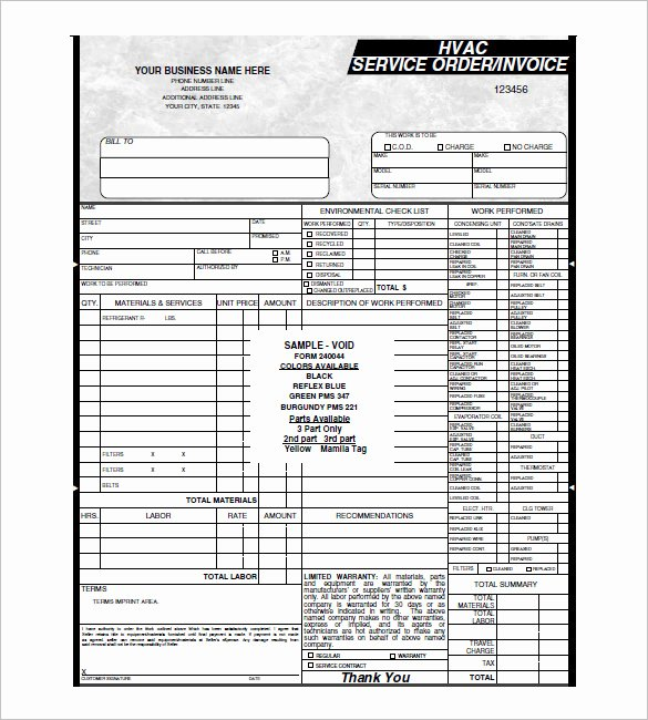 Service Work orders Template Luxury Hvac Invoice Template 6 Free Word Pdf format Download