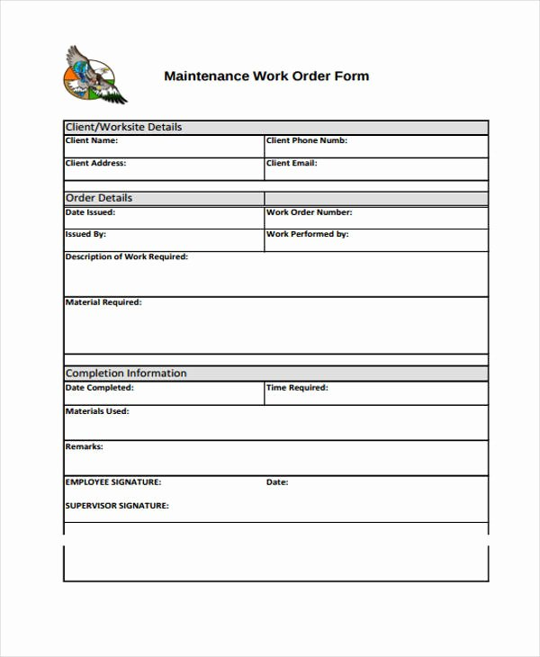 Service Work orders Template Unique Work order Templates 9 Free Pdf format Download