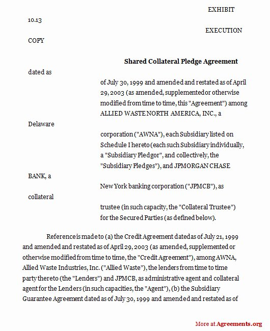 Shared Services Agreement Template Awesome D Collateral Pledge Agreement Sample D