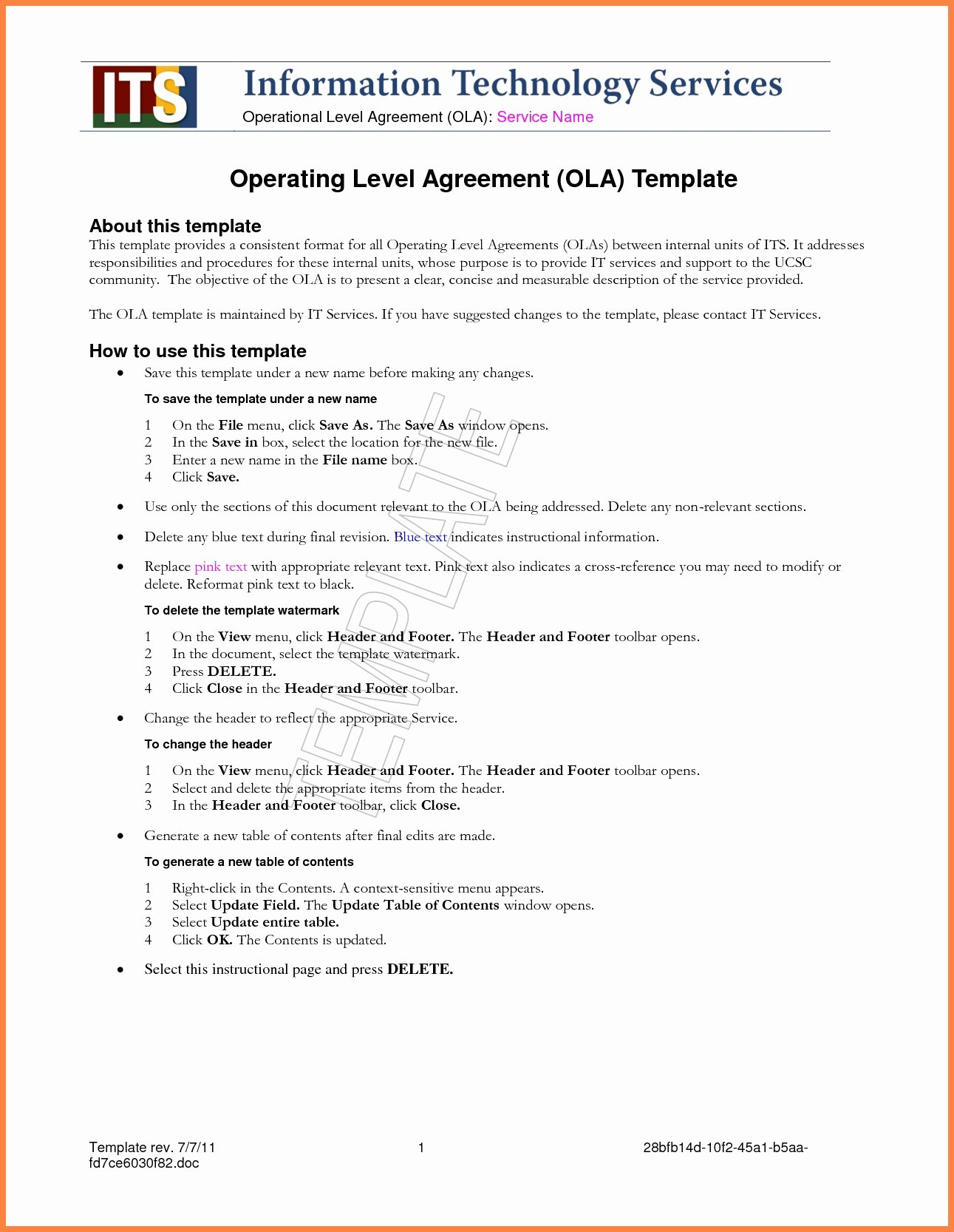 Shared Services Agreement Template Awesome Service Level Agreement Template Best Amazing Sla Template