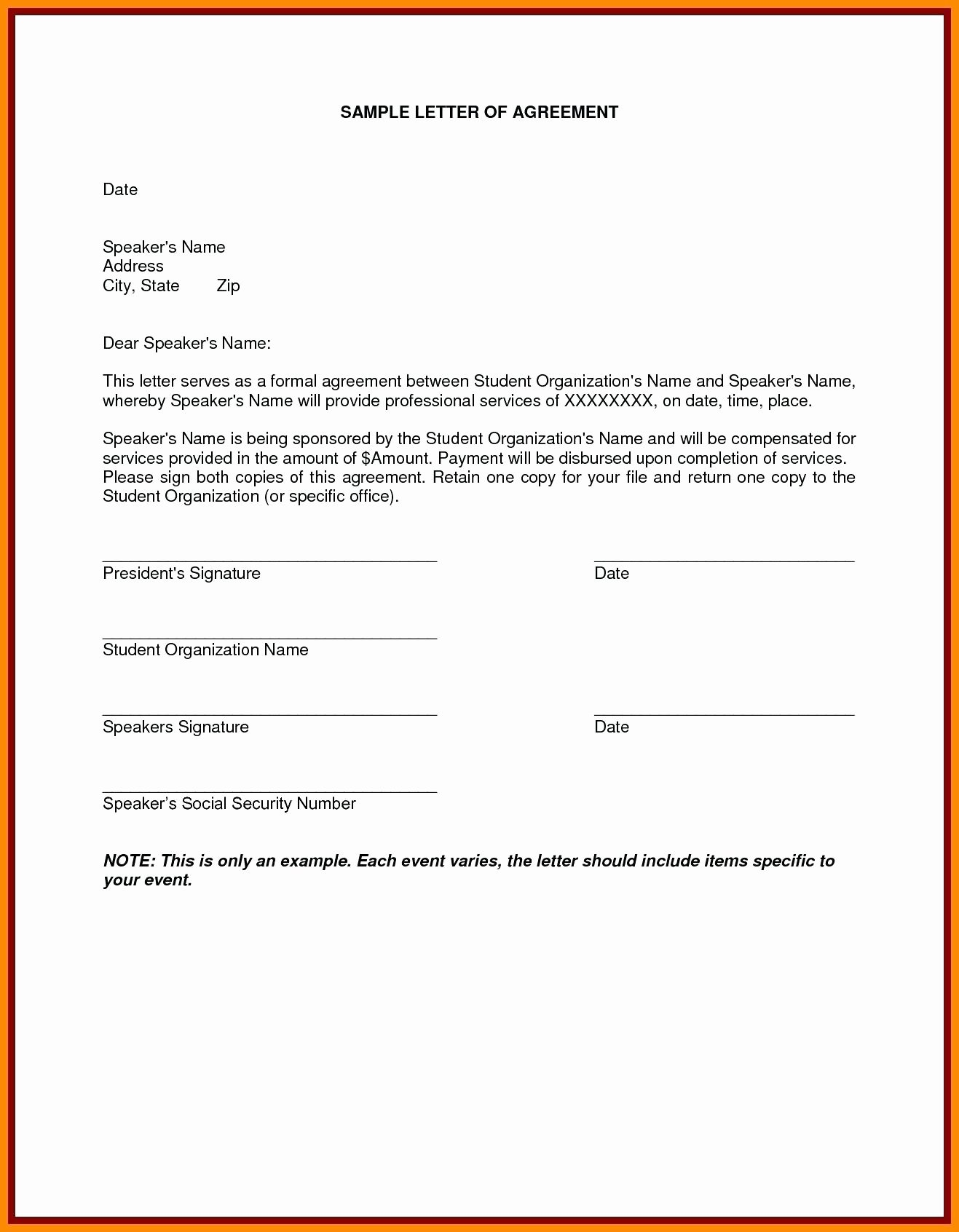 Shared Services Agreement Template Elegant Template D Service Agreement Template 5 Loan Letter