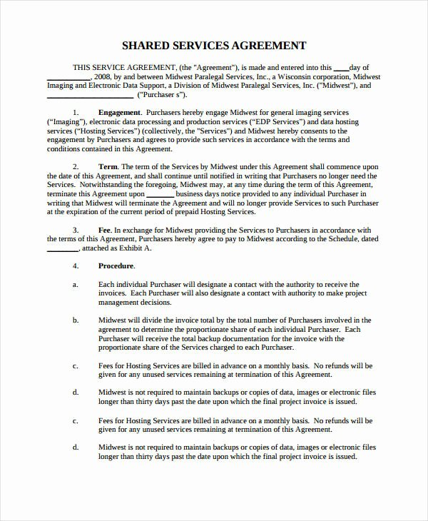 Shared Services Agreement Template New 10 Simple Service Agreements Word Pdf