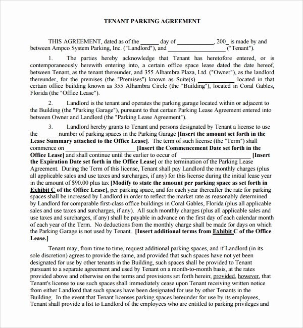 Shared Services Agreement Template Unique 11 Parking Agreement Templates