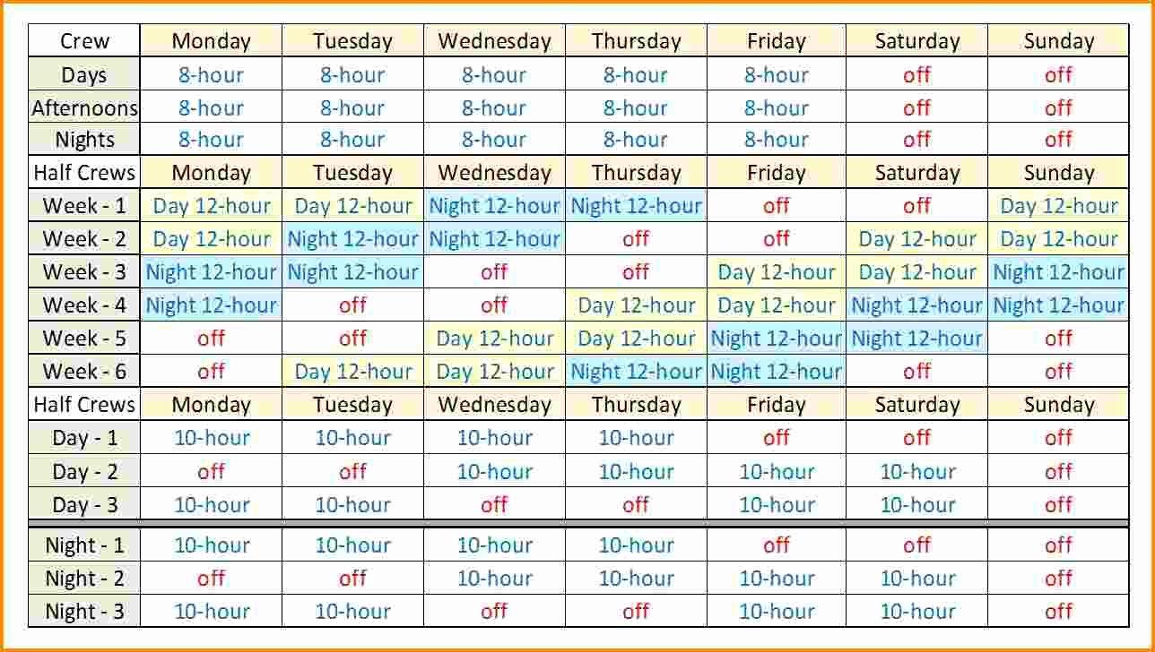 Shift Work Calendar Template Elegant 12 Hour Shift Template Choice Image Template Design Ideas