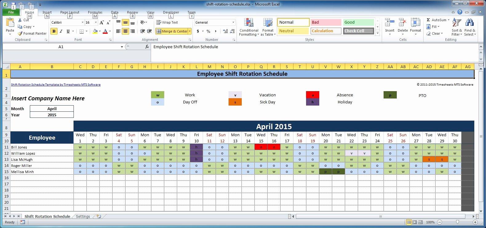 Shift Work Calendar Template Elegant Free Employee and Shift Schedule Templates