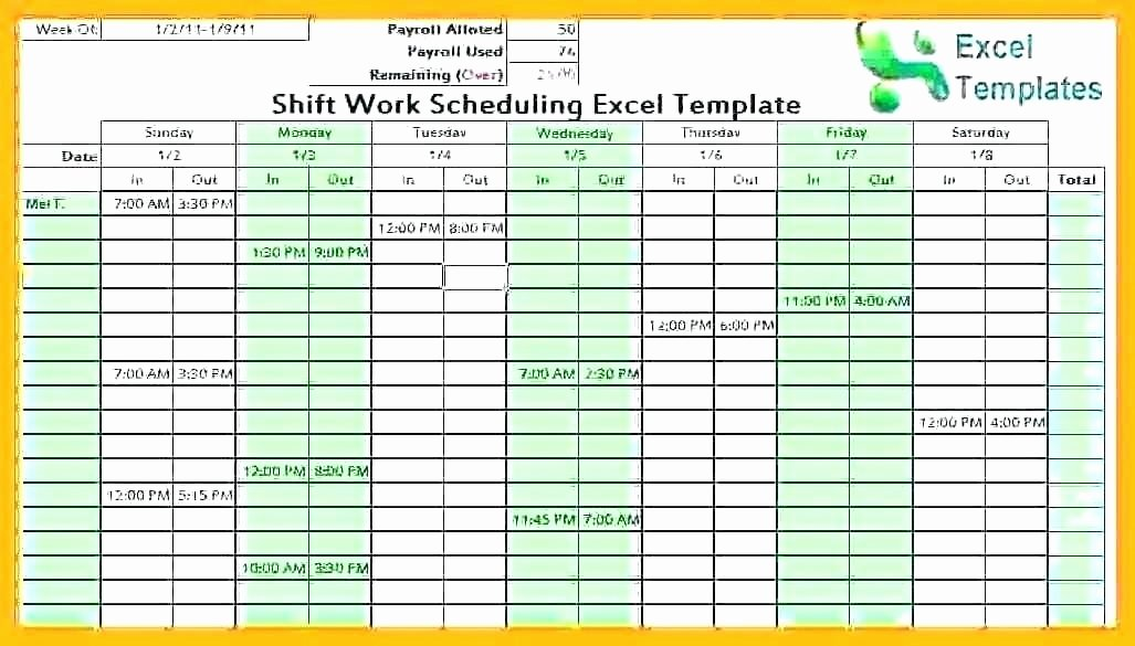 shift planner excel work schedule template monthly