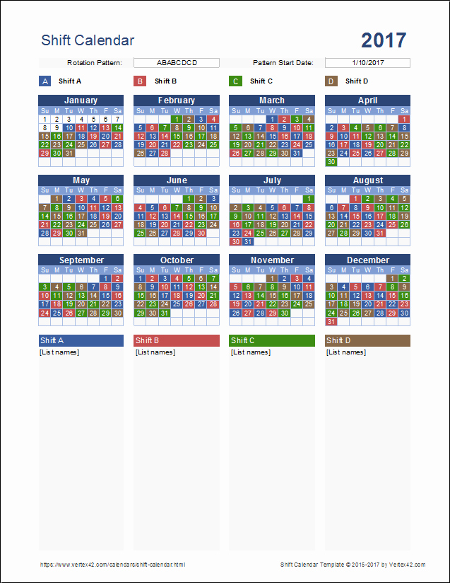 Shift Work Calendar Template Inspirational Shift Calendar Template