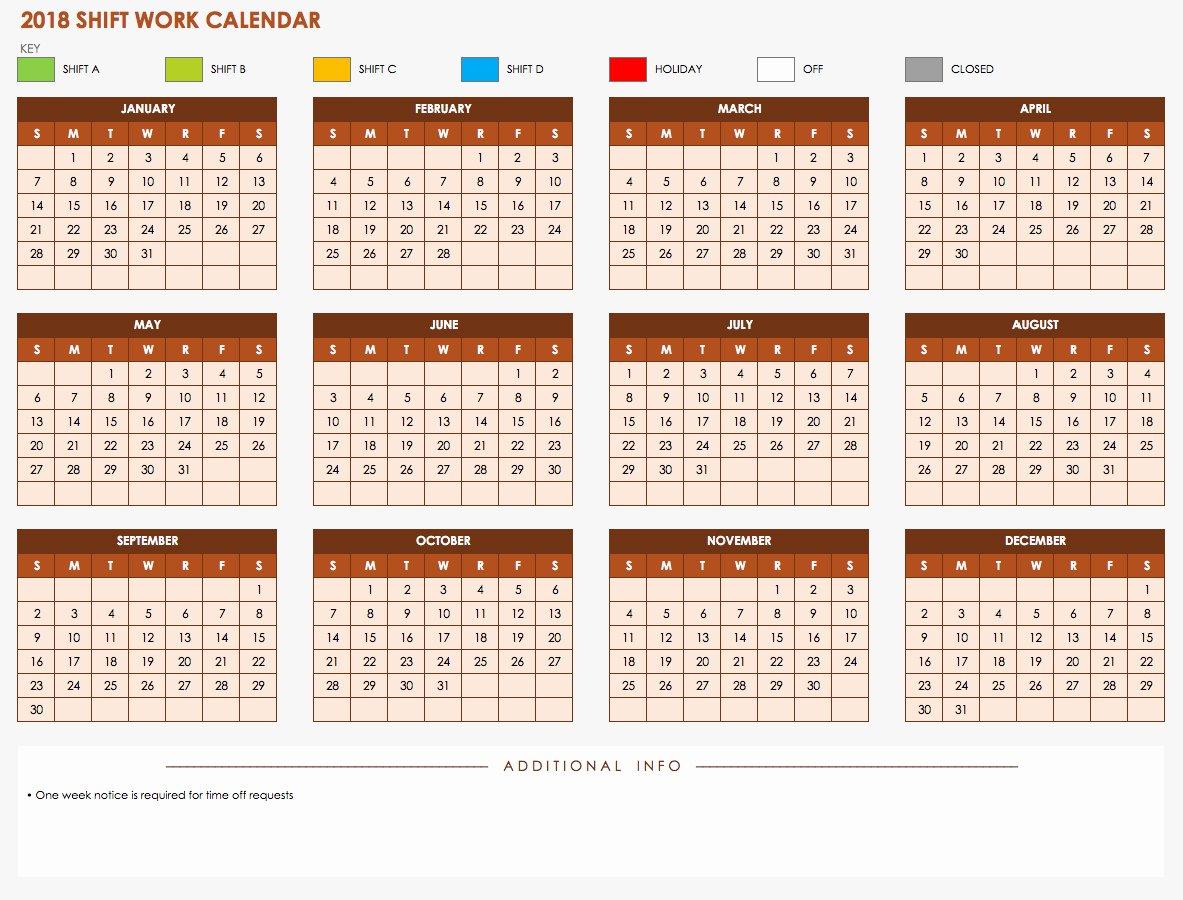 Shift Work Calendar Template Luxury Free Excel Calendar Templates