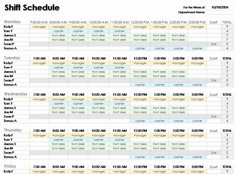 employee schedule template excel 578