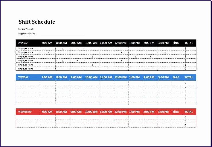 Shift Work Schedule Template Elegant 8 Employee Shift Schedule Exceltemplates Exceltemplates