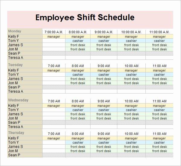 Shift Work Schedule Template Luxury 13 Employee Schedule Samples