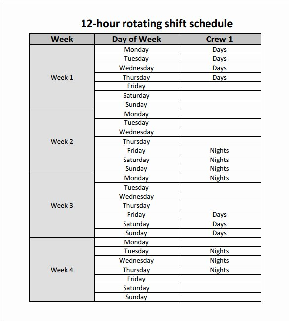 Shift Work Schedule Template New 12 Hour Shift Schedule Template 10 Free Word Excel