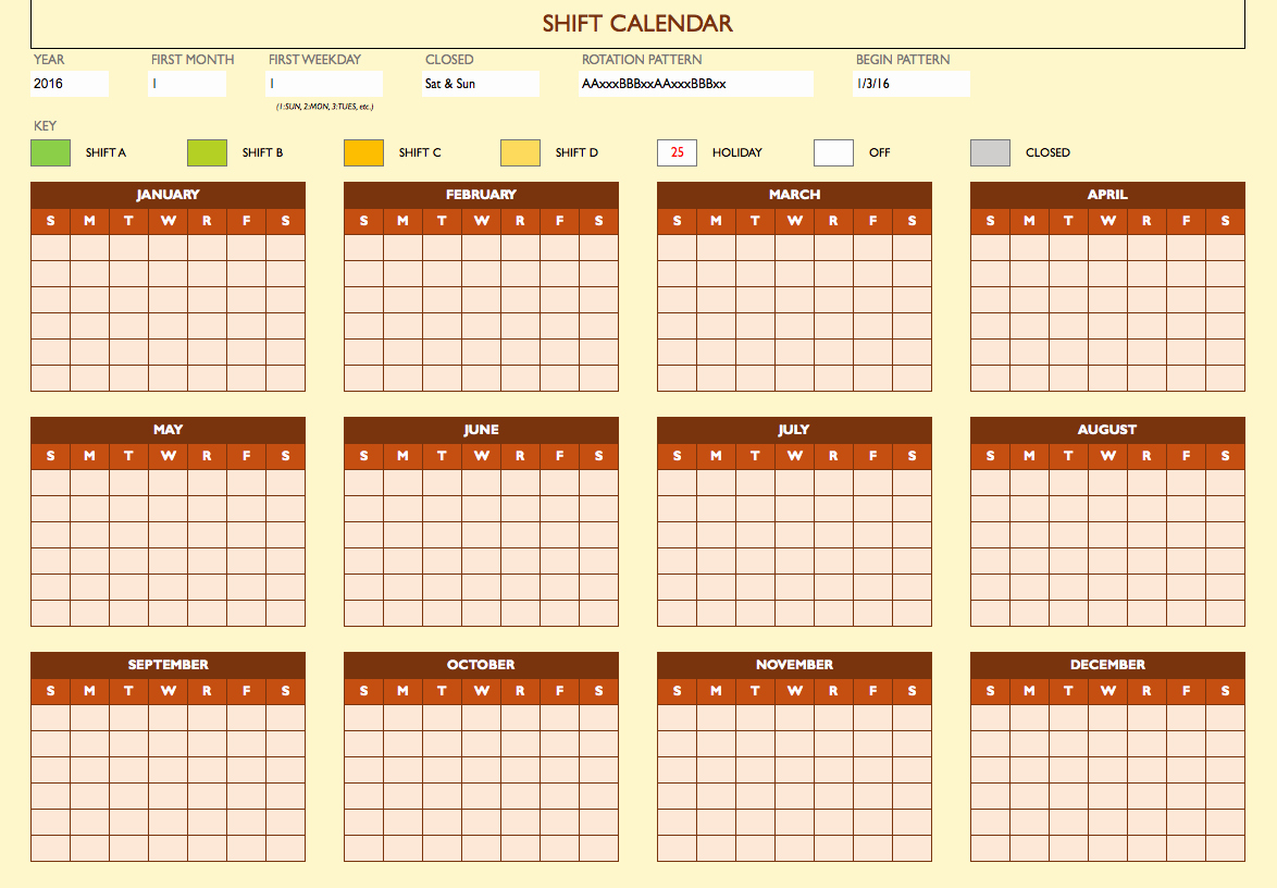 Shift Work Schedule Template New Free Work Schedule Templates for Word and Excel