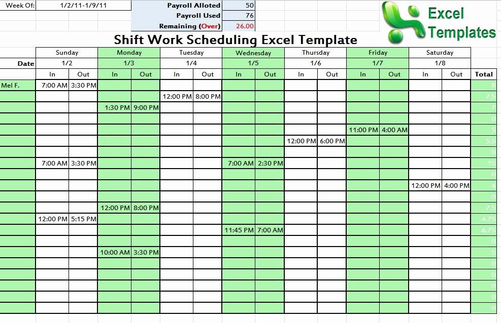 Shift Work Schedule Template Unique Shift Schedule Template Word Excel
