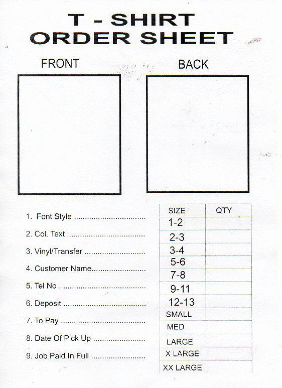 Shirt order form Template Elegant Printable T Shirt order form Template