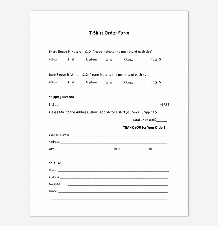 Shirt order form Template Elegant T Shirt order form Template 17 Word Excel Pdf